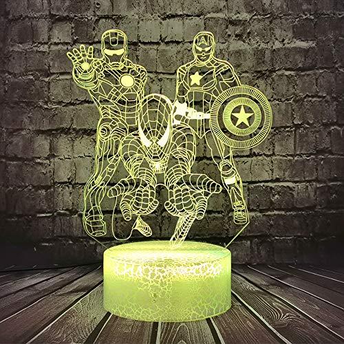 Jinlycoo Marvel Capitán América Luz nocturna para dormitorio infantil LED 3D de dibujos animados de Iron Man Spiderman Comic lámpara de mesa decoración del hogar lava regalo vacaciones para teeanage