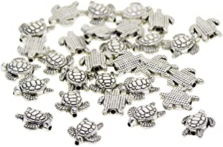 Prettyia 100 Pieces Vintage Tibetan Silver Plated Animal Turtle Charm Beads Spacer Jewelry Findings Parts for Jewelry Maki...