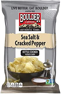 Boulder Canyon Kettle Cooked Potato Chips, Sea Salt & Cracked Pepper, 2 Ounce (Pack of 24)