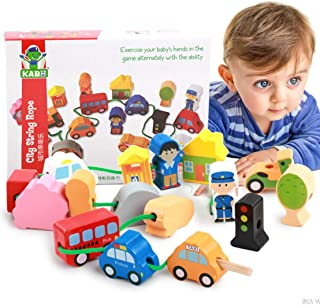 Newraturner Lacing Vehicles Toy Wooden Block Set, Early Educational Toys String & Lacing Beads Games for Toddlers Kids City Cars Learning Play Set (16 Pieces)