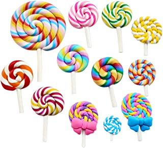 Chenkou Craft Random 12pcs Slime Charm Lollipop Resin Flat Back Flatbacks Loose Beads Kid's Bow DIY Craft (Lollipop)