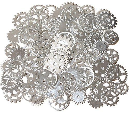 200 Gramm sortierte Vintage Bronze Metall Steampunk Schmuck machen Charms Cog Watch Wheel (Silber-)