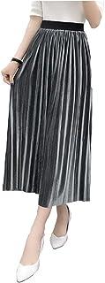 [スプリングスワロー] レディース サテン ベルベット 高級感 光沢 フレアー ストレート プリーツ ロング ハイウエスト ウエストゴム スカート