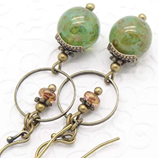 5f432e424 Green Dangle Earrings in Bohemian Marbled Glass