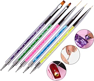 Waldd 5 Pieces Nail Art Point Drill Drawing Brush Pen Manicure Care Tool Nail Brushes Double Ended Dotting Tools Set Nail Art Liner Brush