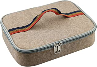 BESTONZON Portable Handbag Oxford Cloth Insulated Lunch Box Storage Bag Insulation Bag Aluminum Foil Lining Cooler Bag (Khaki)