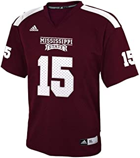 adidas Mississippi State Bulldogs NCAA Maroon Official Home #15 Replica Football Jersey for Youth