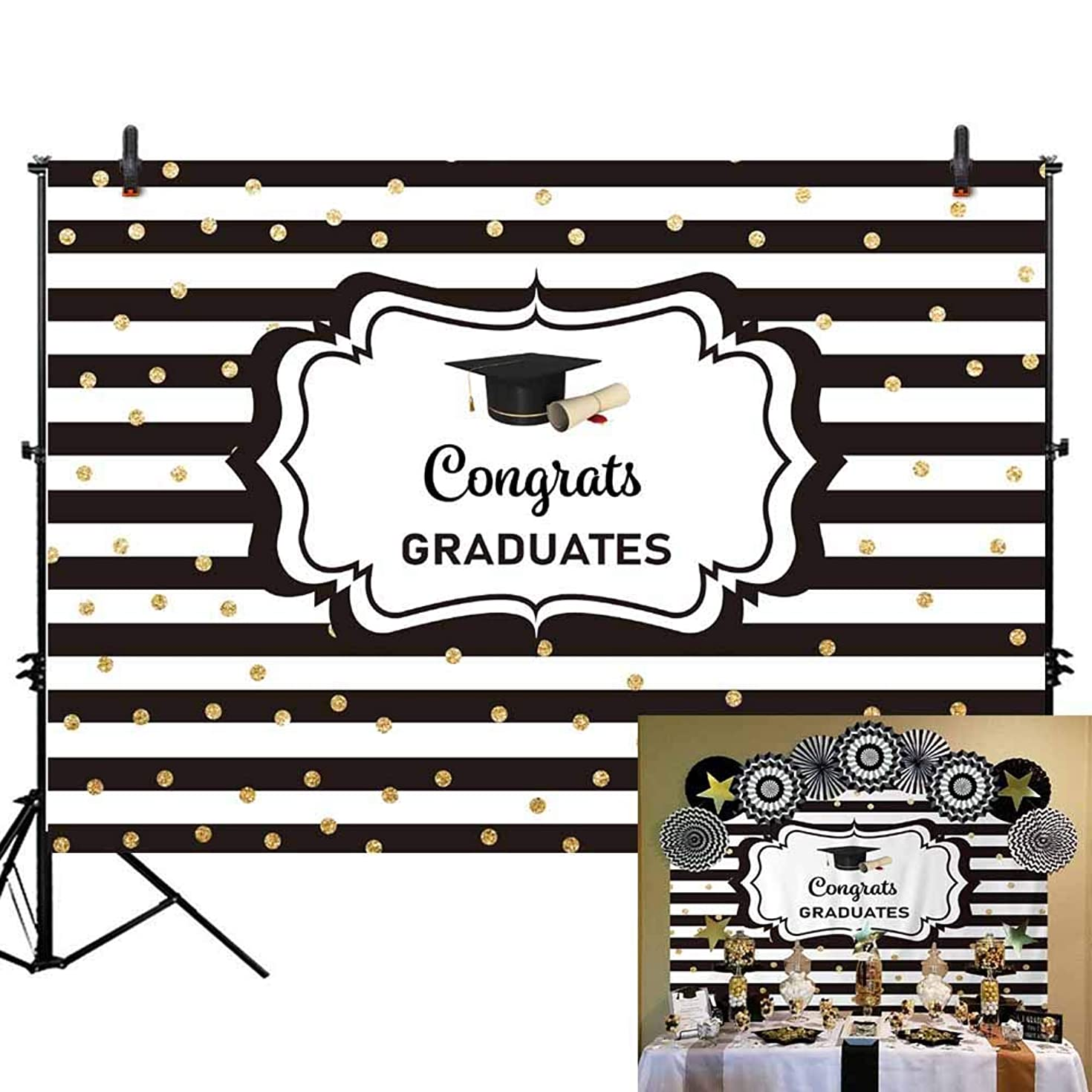 Allenjoy 7x5ft Congratulate Graduation Backdrop Black and White Stripes Gold Dots Congrats Grad Class of 2019 Photography Background Prom Party Banner Event Supplies Decoration Photo Studio Props