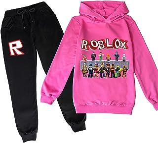 ZKDT Sudadera unisex Roblox Pattern Sweater para niños, sudadera deportiva con capucha y pantalones