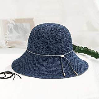 Bo Pin Hats-Women's Summer Sun Hats Japanese Leisure UV Protection Beach Vacation Sun Hats Woven Straw Hats (3 Color Options) Sun Protection Cap (Color : C)