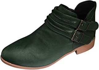 Ankle Booties for Women, Ladies Roman Boots Buckle Strap Ankle Boots Solid Color Faux Leather Short Boots Flat Shoes