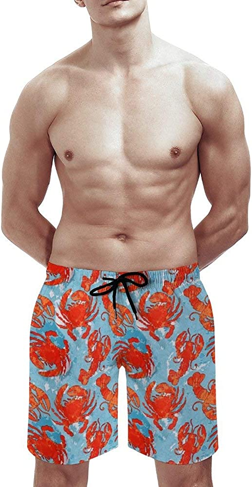 MSACRH Swim Trunks Men with Pockets Crabs and Lobsters Board Shorts Husband Walking Durable Bathing Suits