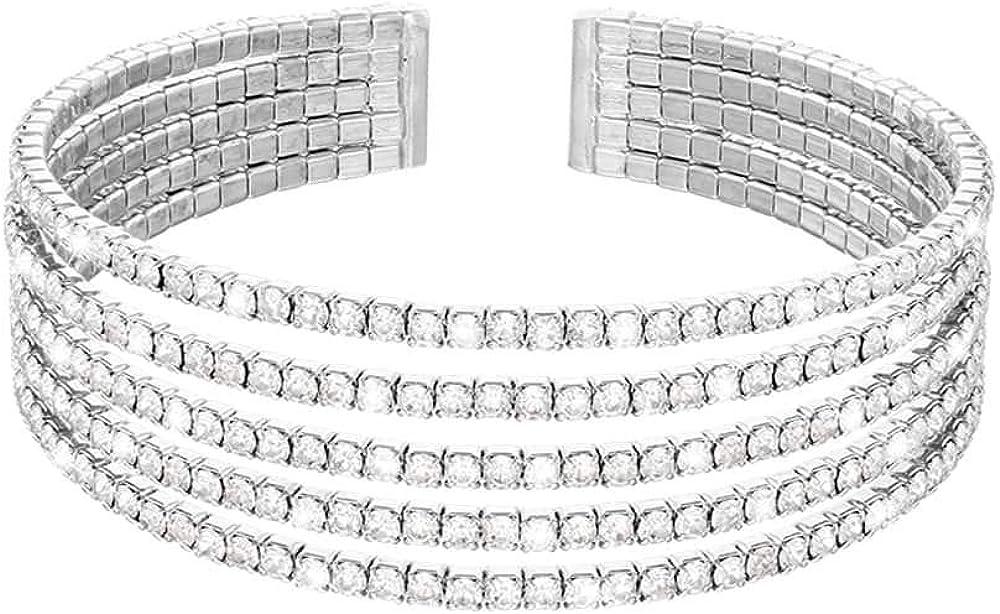 Stroili ,bracciale rigido multifilo per donna, in metallo rodiato con strass 1668672
