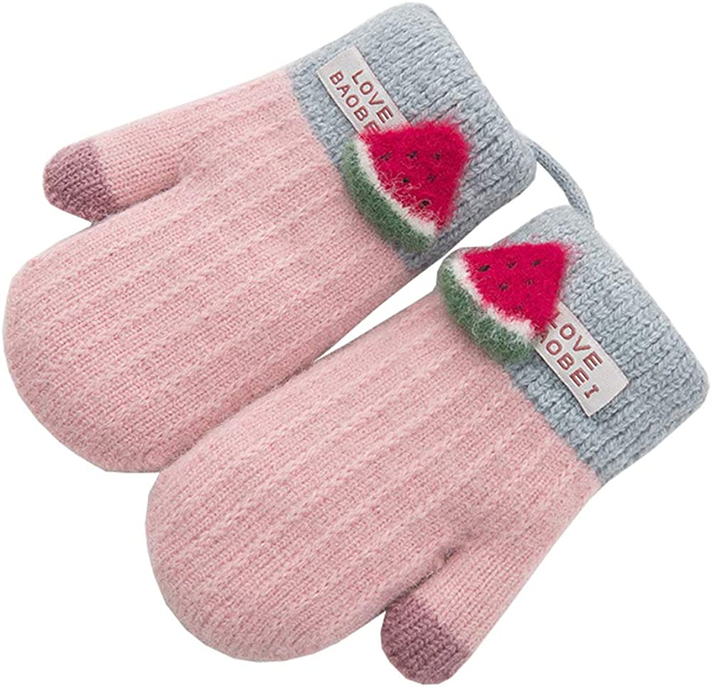 Xinqiao Kids Winter Warm Knit Mitten Cold Weather Cute 3D Fruits Glove for Girls