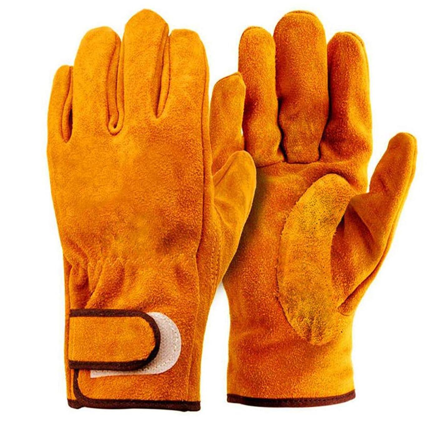 依存オレンジ計画的耐熱 手袋 キャンプグローブ レザーグローブ BBQ 耐熱グローブ アウトドア用 作業革手袋 MLS301