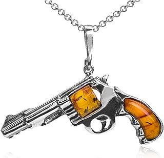 Amber Sterling Silver Revolver Gun Pendant Necklace Chain 18
