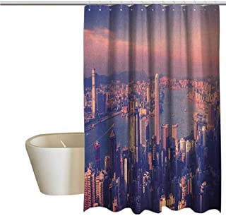 Genhequnan City Elegant Shower Curtains Dreamy View of Chinese City Hong Kong Urban Scene Concept Victoria Harbor Waterproof Fabric Shower Curtain W69 x L74 Inch Pale Pink Night Blue