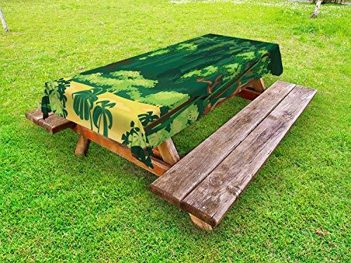 ABAKUHAUS Las Hojas de la Selva Funda Nórdica, Escena al Aire Libre exótico, 100% Poliéster con Estampado Digital Resistente, 145 cm x 210 cm, Multicolor