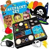 Red Deer Toys Set de Pintura Facial de Ciervo Rojo para 100 Caras 9 Pinturas Lavables, 4 crayones de Maquillaje, 3 purpurinas, 4 esponjas, 2 Pinceles, 4 Plantillas, 9 Accesorios 36 Pieza Amarillo