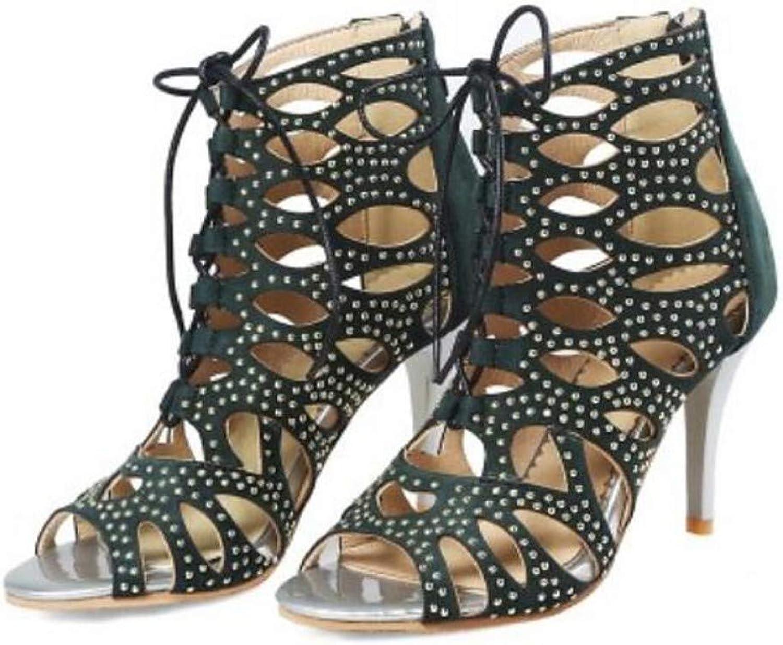 ZHZNVX Women's Leather Summer Sandals Stiletto Heel Peep Toe Black Army Green Almond