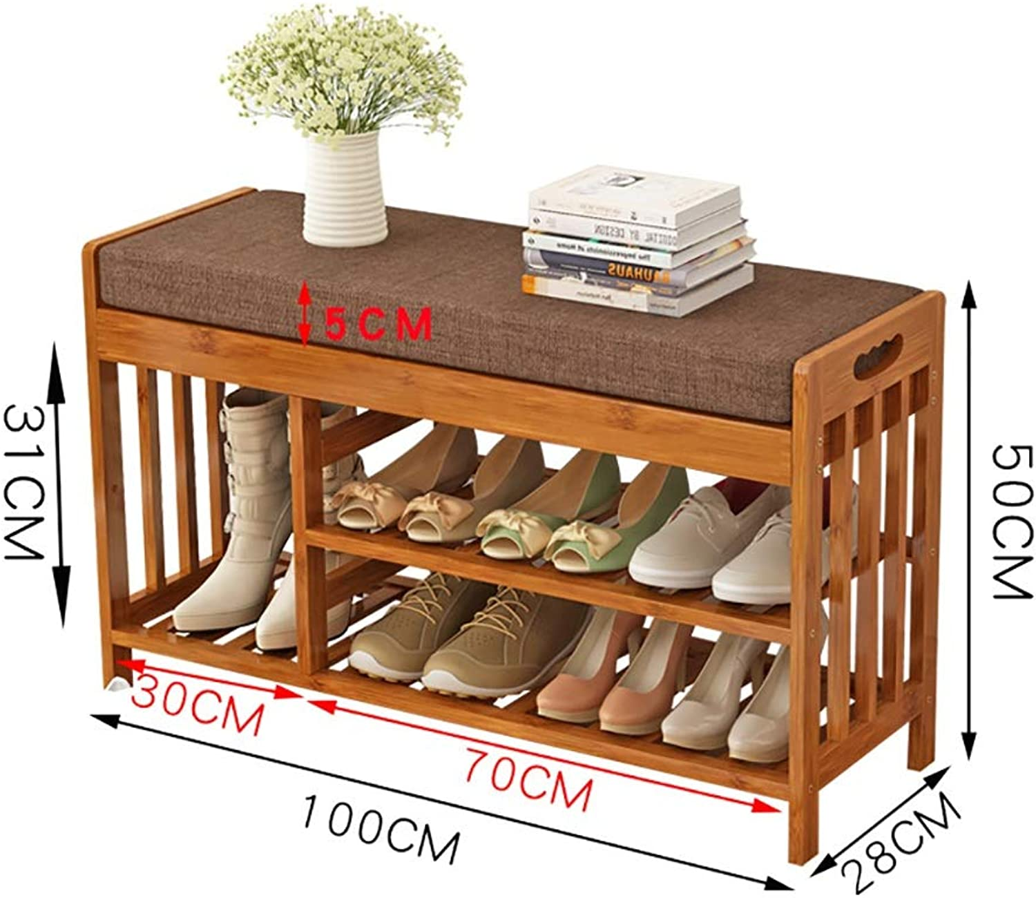 Entrance Door Change shoes Bench 2 Layer shoes Rack shoes Stool Storage Stool Frame Sofa Stool shoes Cabinet Test shoes Bench Wearing a shoes Bench Bamboo (Size   100  28  50cm)