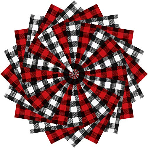 40 Pieces Christmas Precut Fabric Cotton Quilting Fabric Plaid Cotton Fabric Squares for DIY Sewing Quilting Patchwork Craft, 5.9 x 5.9 Inches