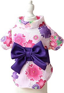 MaruPet Brocade Japanese Kimono for Girl Floral Pet Halloween Costume Bowknot Dog Dress for Small, Extra Small Dog Wiener Dog Teddy, Pug, Chihuahua, Shih Tzu, Yorkshire Terriers, Papillon