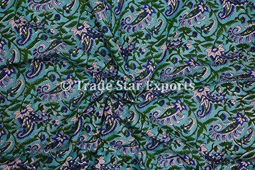 3M indio mano impresión de bloque Tela, 100% algodón gasa Tela de tinte natural para Manualidades, Fabricación de vestido de coser tela por metro, la Pattern 9