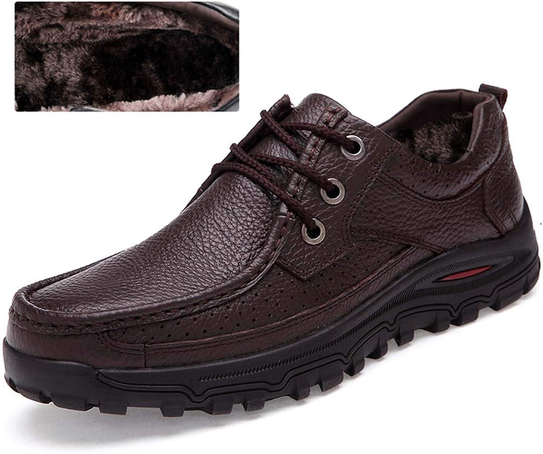 Men's Winter Warm shoes Business Casual Leather Plus Size Plus Cotton Outdoor Walking shoes