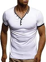 Henley Shirt Herren Kurzarm Sport T Shirt MäNner Kanpola Slim Fit Oversize Coole Stretch Unterhemd Sommer Pullover Rundhals Stylische Sweatshirt Oberteile