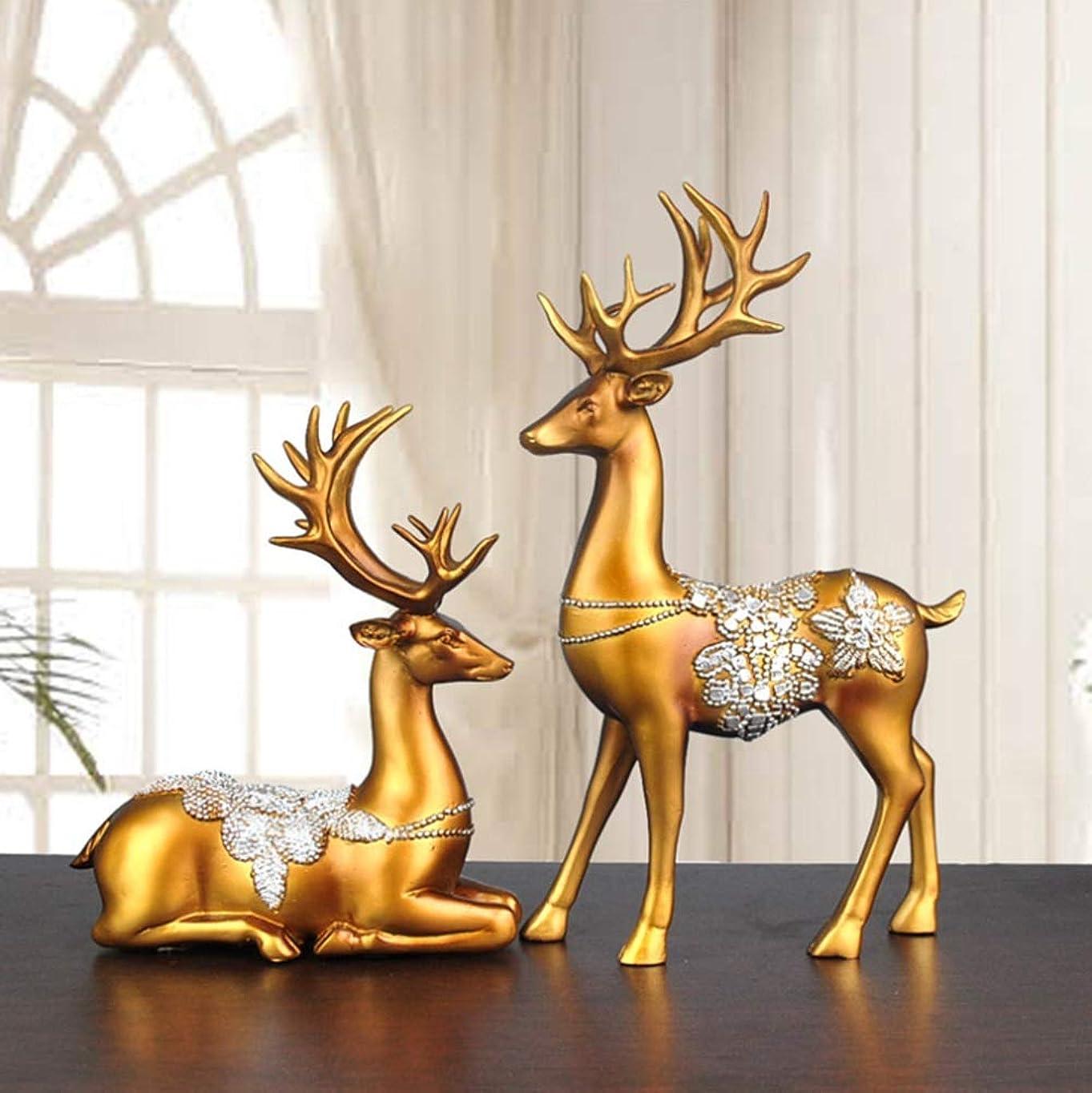 暫定の不十分運動YIJUPIN 創造的なヨーロッパのホームデコレーション/ギフトホームデコレーション/カップルのエルクの装飾 (色 : ゴールド)