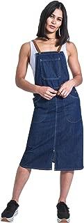 USKEES Midi Denim Dungaree Dress - fastens with braces Pinafore Bib Front Split