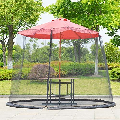 cheerfullus-123 9ft Patio Umbrella Cover Mosquito Netting Screen,Outdoor Garden Umbrella Table Screen,Portable Foldable Parasol Mosquito Net Cover with Zipper,Black