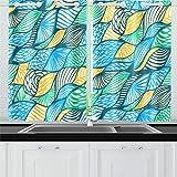 Zemivs Varias Hojas de Flores sin Costuras Cortinas de Cocina Cortinas de Ventana Niveles para café baño lavandería Sala de Estar Dormitorio 26x39 Pulgadas 2 Piezas