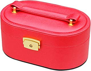 XX_C Jewellery Boxes & Organisers Jewelry Box,Jewellery Case Storage Box Organizer 2 Layers of Artificial Leather Jewelry Box with Mirror Mini Ladies Gift (Color : Red)