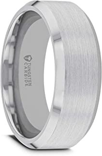 Sheffield | Tungsten Rings for Men | Tungsten | Comfort Fit | Custom Engraving | Wedding Ring Band with Polished Beveled Edges and Matte Brushed Finished Center - 6mm