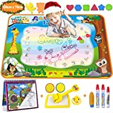Aqua Doodle - Wasser Doodle Matte 100*70cm Kinder, Große Magic Malmatte mit Wasser Buch , 4 Magic Stifte, 8 Stempelset- Perfektes Spielzeug für Mädchen Junge