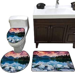 U-Shaped Bathroom Floor mat Outdoor Lake Forest Mountains National Park Slovakia Europe Dramatic Overcrast Sky Idyllic Non-Slip Soft Absorbent Bath Rug Multicolor