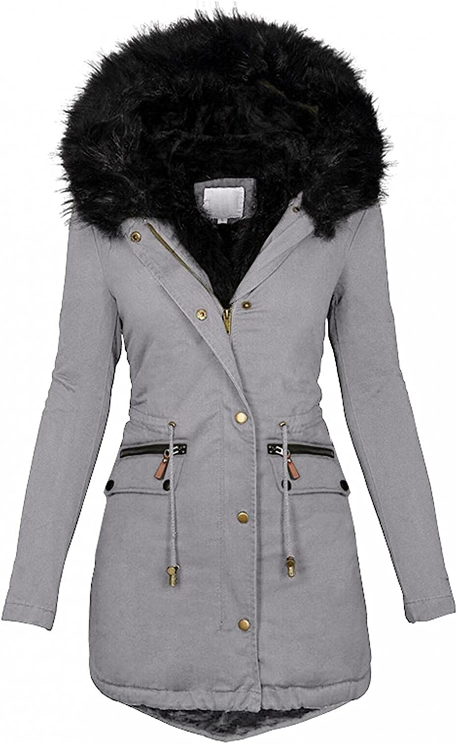 ManxiVoo Womens Plus Size Hooded Faux Fur Lined Coats Parkas Jackets Outerwear Overcoat with Drawstring Waist