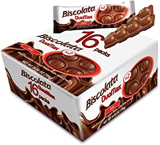 Biscolata Duomax Milk Chocolate Wafer Bar Snack Cookies (16 pack - 32 Pieces)