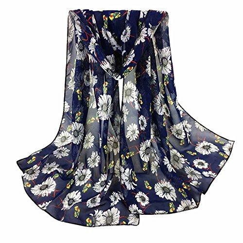 Yennuo Autumn Floral Print Scarves for Women Fashion Pineapple Elephant Print Chiffon Turban Soft Wrap Shawl