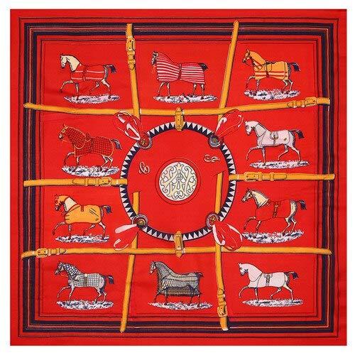 AHUIOPL Imitierte Seide Seidenschal Frau Zehn Pferd Kreis Print Square Schals Bandana Kleine Hijab Dame Krawatte Stirnband 53X53Cm
