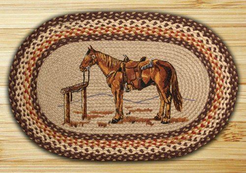 "Earth Rugs 65-129H Op-129 Horse Design Rug, 20"" x 30"", Brown/Ivory/Natural"