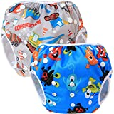 Teamoy Reusable Swim diapers, 2 Pcs Pack Washable Swimming diapers for Baby Boys & Girls, Ideal for Swimming Lessons/Holiday, Construction + Happy Night