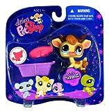 Hasbro Year 2008 Littlest Pet Shop Portable Pets 'Funniest' Series Collectible Bobble Head Pet Figure Set #970 - Cow with Removable Horns Plus Pink Baret Hat and Purple Basket (91840)
