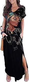 Women's Casual Loose Long Dress T-Shirt Dress Long Sleeve Maxi Dresses with Pockets
