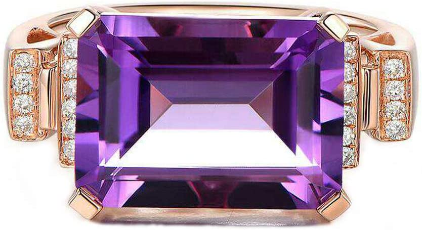 18K Gold Plated Amethyst Engagement Promise Lovers Couples Wedding Rings Purple Color