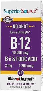 Superior Source No Shot Vitamin B12 Cyanocobalamin (10000 mcg), B6, Folic Acid, Quick Dissolve Sublingual Tablets, 60 Coun...