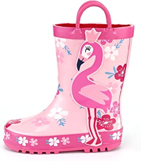 KomForme K Kids Girl Rain Boots, Waterproof Rubber Printed with Handles in Various Prints and Different Sizes