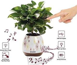 Envolve Music Flower Pot, Wireless Bluetooth Speaker, LED Light Smart Touch Music Flower Pot, Multicolor Night Light, Play Piano Music on a Real Plant with Colorful LED Lights (Plant not Included)